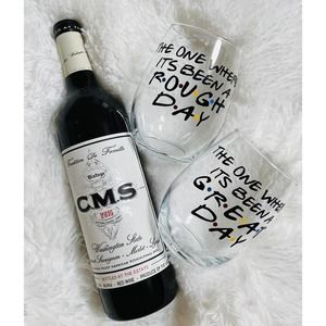 Set of 2 Friends Themed Stemless Wine Glasses
